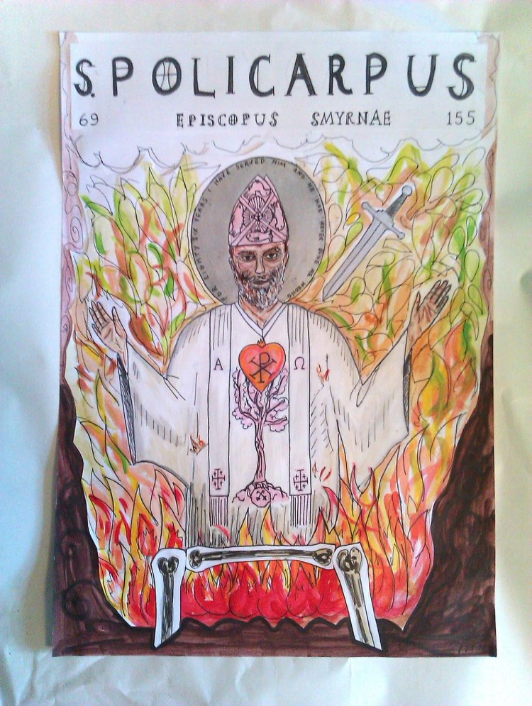 The life and death of Polycarp, a student of St. John the Gospel-writer, is well documented, thanks to Irenaeus. We have a letter Polycarp wrote to the Church in Philippi and an authentic account of his martyrdom, illustrated above by Piotr Stolarski.