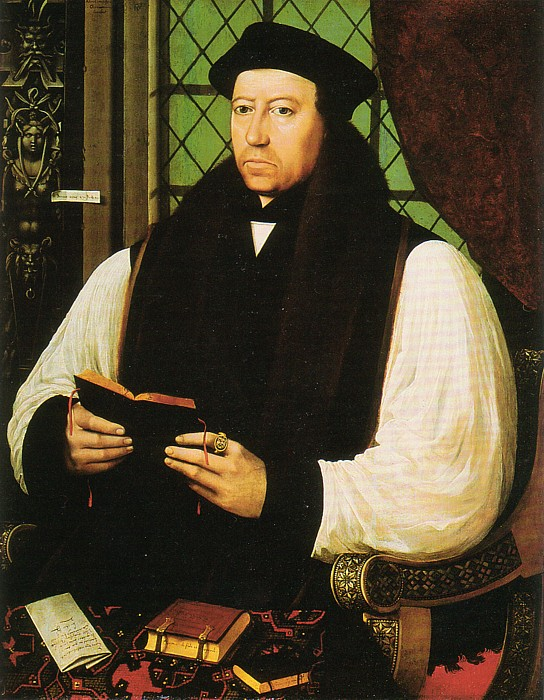 Gerlach Flicke, 1545-46: Thomas Cranmer. Everything we do on this site is an outgrowth of the work of Archbishop Cranmer, who compiled, edited, translated and wrote parts of the first Book of Common Prayer, 1549. He simplified the monastic Offices into Morning and Evening Prayer - and best of all, he put them into English, not Latin, a change sought by reformers for more than a century. It cost him his life when the boy-king Edward died and his half-sister Mary took the throne.