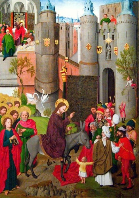 Anonymous Master of Gdansk, c. 1500: Christ's Entry into Jerusalem. While the main action takes place across the bottom, Jesus is also seen in the upper left, cleansing the Temple, which is also the Gospel lesson tonight at Evening Prayer. Thus the artist's subject here is not just the event with the donkey, but the sweep of Christ's salvific acts. (Polish National Museum, Warsaw)