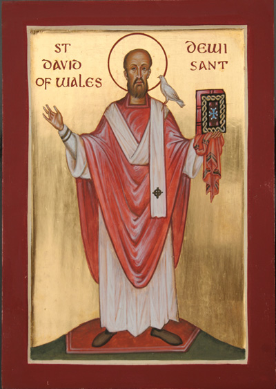 Aidan Hart: St. David. The Celtic faith centered in Glastonbury remained in Wales after the Angles, Saxons and Jutes conquered the rest of Britain, and from that faith today's saint comes. David founded a dozen monasteries, pre-eminently at Menevia; he preferred to remain in study and prayer in his enclosure, but was elected bishop and eventually Primate of Wales. He was known as a strict administrator but lenient with wrongdoers.