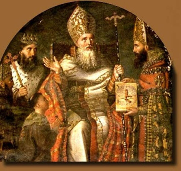 Gregory's success in converting Armenia was by no means assured; his father had assasinated the previous king years before. Gregory returned from exile to atone for his father's crime, and the old king's son, now on the throne himself, threw him in a pit for a dozen years. Later, they reconciled. (source unknown)