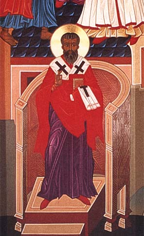 """Mark Dukes, 1996, at the Church of St. Gregory of Nyssa, San Francisco. Gregory was a reluctant bishop, forced into it by his brother St. Basil, and temperamentally unsuited to it. But the time he spent with his sister St. Macrina deepened his faith and unleashed his spirit, which came out in his writing. """"On the Making of Man"""" takes delight in creation, and his """"Commentary on the Song of Songs"""" is a celebration of earthly love. Nyssa was a town in Cappodocia in south central Turkey."""