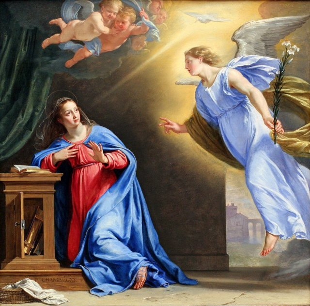 Philippe de Champaigne: Annunciation. Of all the art ever produced on this theme - thousands of pieces, surely - this is my favorite, the best we have.