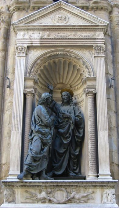 Andrea dell Varrocchio: Christ and St. Thomas, from the Vatican Museums. (photo: Samuel Maddox)