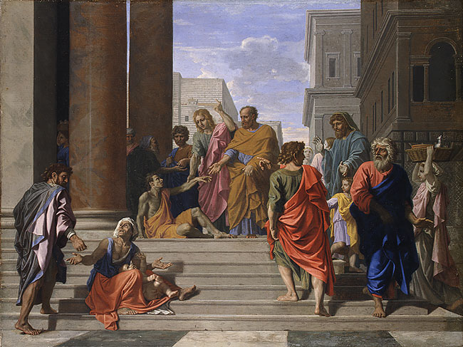 Nicolas Poussin, 1655: St. Peter and St. John Healing the Lame Man. (Metropolitan Museum, New York)