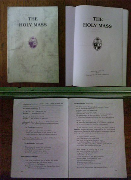 The official Prayer Book of the Episcopal Church of the Philippines is the same as the American one, but local variation is also present, depending on language needs and culture. The Philippine Church has grown beyond its expatriate beginnings and is now largely indigenous among the peoples of the islands. The Mass Book above is an excerpt of the Book of Common Prayer for use on Sundays.