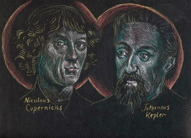 The Rev. Tobias S. Haller, BSG, chose a dark background for this iconic drawing, as he contemplated the holy astronomers Copernicus and Kepler gazing at the night sky. Copernicus, a priest, correctly described the Earth and other planets orbiting around the sun in 1543; this was not a cause of much controversy until later, once the Vatican got hold of Galileo. Kepler, a German scientist, elaborated on Copernican theory and discoverd the laws of planetary motion. They both saw God's hand at work.