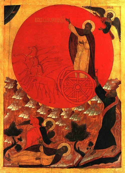 Elijah Ascending in the Chariot of Fire; iconographer unknown