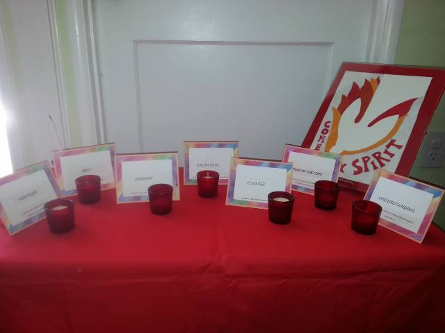 The gifts of the Holy Spirit, identified and prayed for at Christ Church, Redondo Beach, California. Click to enlarge. (The Rev. Robert Cornner)