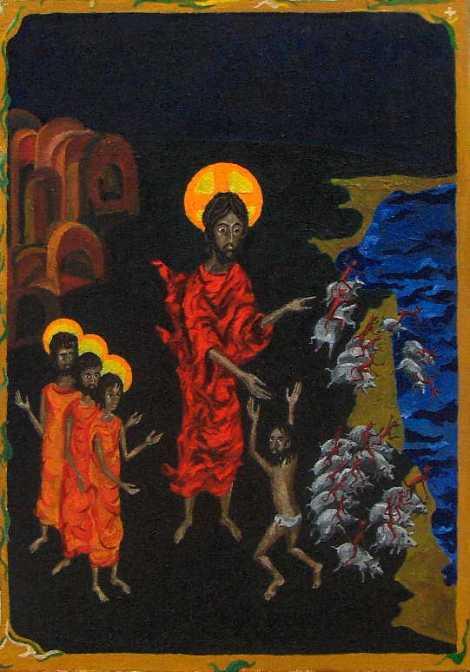 Jesus heals the Gerasene demoniac. (artist unknown)