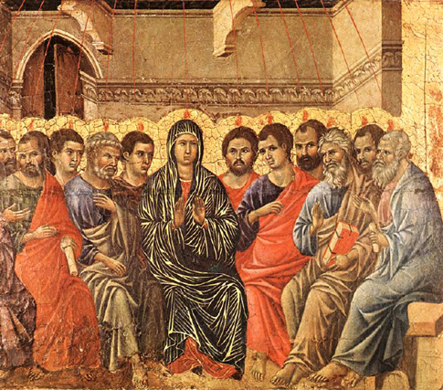 Duccio di Buoninsegna, 1308, tempera on wood: Pentecost