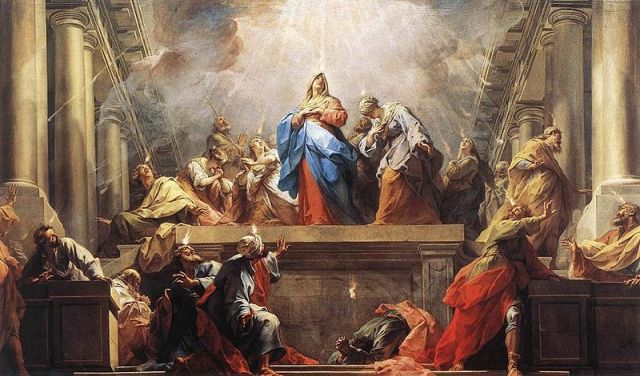 Jean II Restout, 1732: Pentecost. This day, often called the Birthday of the Church, marks the descent of the Holy Spirit ten days after Christ's Ascension. With this we end the Easter season.
