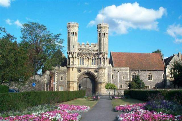 St. Augustine's Abbey, on the grounds of Canterbury Cathedral. He was the prior of St. Andrew's Abbey in Rome when Pope Gregory the Great tapped him to evangelize England, so one of Augustine's first projects was building a monastery. (source unknown)