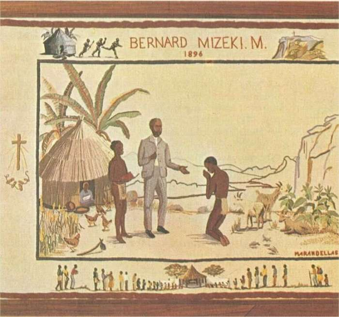 Marandellas Women's Institute: Martyrdom of Bernard Mizeki. The borders help tell the story; the central panel depicts Bernard teaching converts about Jesus. The upper border shows the scene of his martyrdom, while the lower border depicts pilgrims coming to the shrine later erected on the site of his hut. The motif to the left depicts the triumph of the Cross over the witch doctor's bones. (forallsaints.wordpress.com)