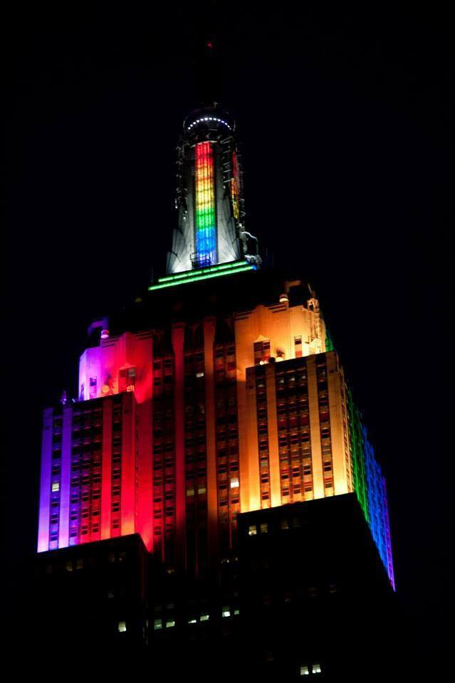 New York Pride 2013: the world's most famous building is Gay. (photographer unknown)