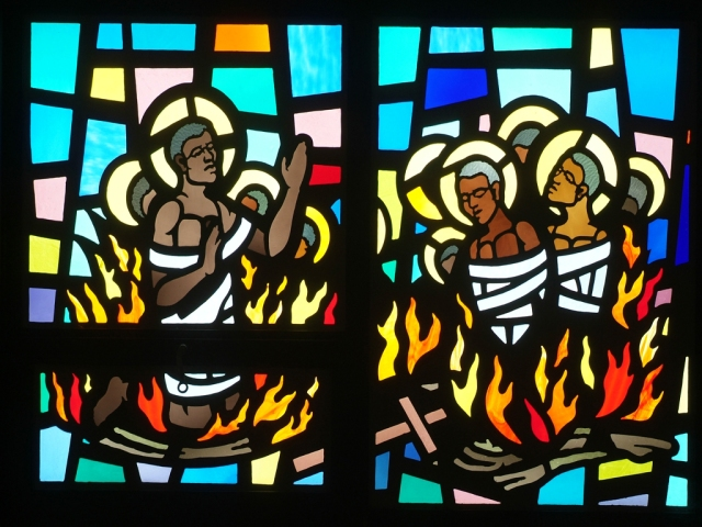The Martyrs of Uganda were 32 young Anglican and Roman Catholic men who belonged to the court of a king who died. His successor decided that Christianity represented a threat to his rule, so he had them burned alive. The result: Uganda is officially the most Christian nation in Africa. (StDorothy.net)
