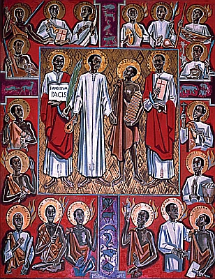 Icon of the Ugandan Martyrs; 23 were Anglican, 22 were Roman. Their deaths took place during a 3-way religious rivalry with Islam and imperialist jockeying among Britain, France and Germany; the Anglican deaths ended up being used as a justification for annexing Uganda into the British Empire. (source unknown)