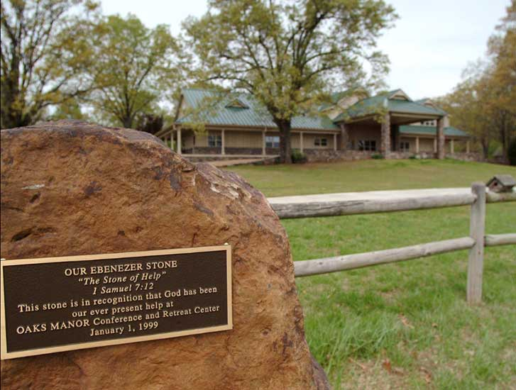 Ebenezer stone at Oaks Manor, an interdenominational camp and conference center in Van Buren, Arkansas, USA.