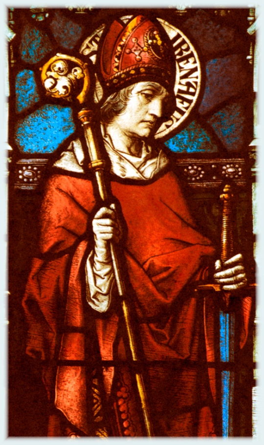 """St. Irenaeus fought peacefully (and with biting humor) against the Gnostics, who despised the flesh and exalted the spirit, and held Christ in an inferior position to the Father. His name means """"the peaceable one,"""" and he told the world that humanity can't be despicable since Christ himself came among us. (catholictradition.org)"""