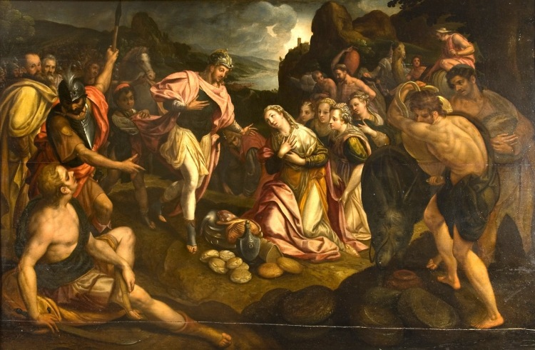 Frans Pourbus the Elder: David and Abigail. This is a rare photograph of this work; click to enlarge.