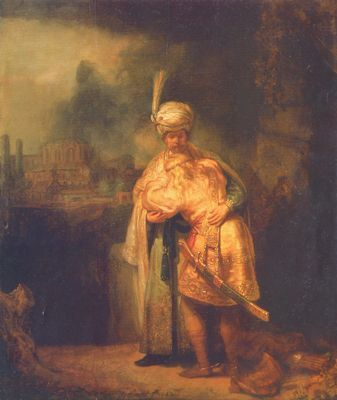 """Rembrandt: David and Jonathan. Their covenant-making reminds me of a similar exchange of clothing, called """"cementation,"""" among American Cherokees, where two men enacted bonds of friendship and peace on behalf of the whole nation. Then they would disappear into the Smoky Mountains and never be seen or heard again."""
