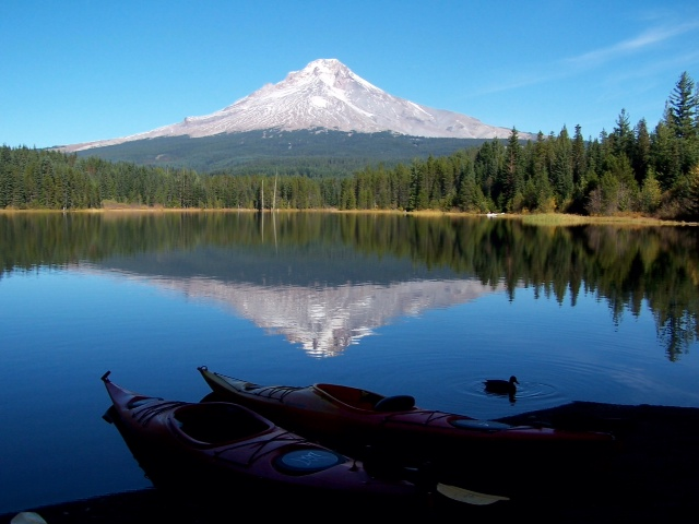 Mount Hood, a quiet volcano in the Cascade Mountains of Oregon.