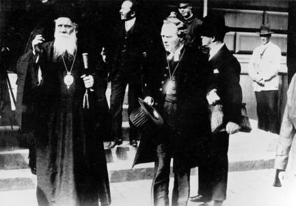 The presence of the unidentified Orthodox prelate suggests to me that this photo with Nathan Söderblom, center, Primate of Sweden, may date to the 1925 Conference on Faith and Work, in which he brought together Anglican, Reformed, Lutheran and Orthodox leaders to promote joint efforts on world peace, justice and social issues. Four years later he won the Nobel Peace Prize. In Sweden he is known as the people's Archbishop; like Christian Führer, he was a Lutheran.
