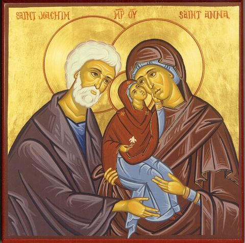 The parents of Mary do not appear in the New Testament, and we know nothing definite about them. They are discussed however in the apocryphal Gospel of James, and from there all manner of pious legends have been spun. We know that Mary had parents and that they must have been righteous people; the rest we must leave to your imagination. (iconographer unknown)