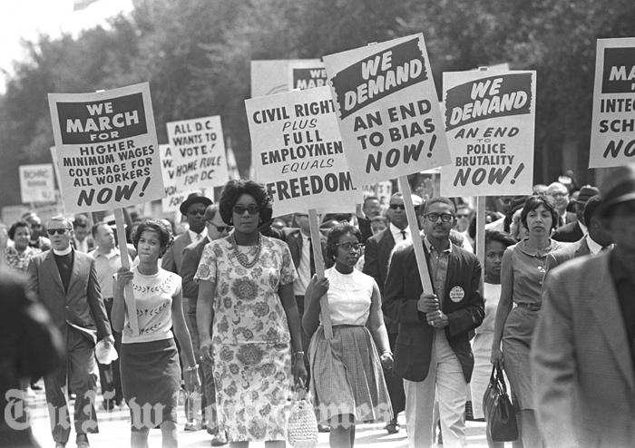 The issues then were the same as the issues now: End bias. No police brutality. End segregation in schools. Higher minimum wages. Home rule for D.C. (The New York Times)