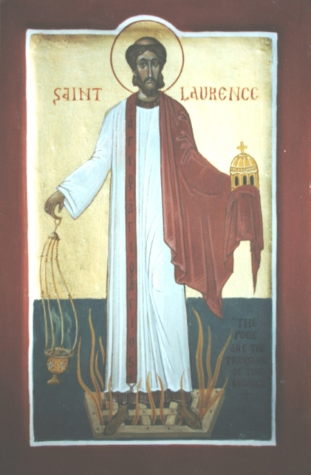 In his confrontation with the Emperor Valerian, Laurence seems to have been both innocent and savvy when soldiers came to confiscate the Church's money; the Church didn't have much, and the Emperor knew that. Laurence's martyrdom wasn't about theology, but about power. (unknown)