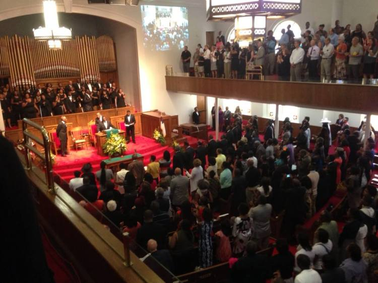 The 16th St. Baptist Church in Birmingham, Alabama, USA observed the 50th anniversary Sunday of the civil rights era firebombing that left four girls dead in Sunday School: Addie Mae Collins, Carole Robertson, Cynthia Wesley and Denise McNair. The Ku Klux Klan attack injured 23 more. (The Rev. Malcolm Marler)