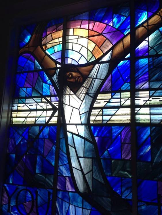Crucifix window at 16th St. Baptist Church, Birmingham, Alabama. It was a gift from Christians in Wales after the 1963 civil rights church bombing left four little girls dead and more injured. (The Rev. Malcolm Marler)