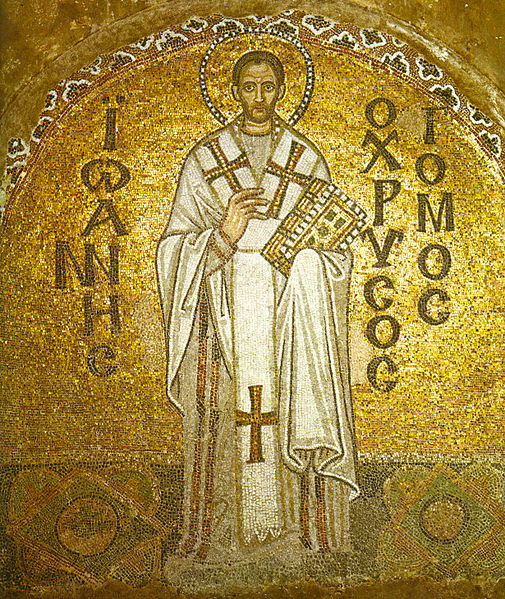St. John the Golden-Tongued (as Chrysostom is translated, for he was an astonishing preacher) at the Hagia Sophia in Istanbul.