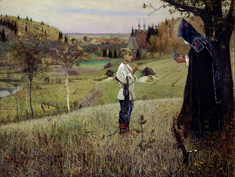 Mikhail Nesterov, 1890: The Vision of Young Bartholomew (which was St. Sergius' baptismal name). This  famous painting ushered in a new Symbolist style of Russian art. It shows the boy, who may have had a learning disability, encountering a monk who helps him learn to read by sharing a piece of holy bread.
