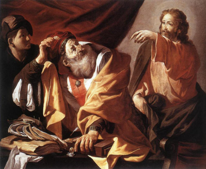 Jesus calls Matthew; artist unknown. (gerhardy.id.au)