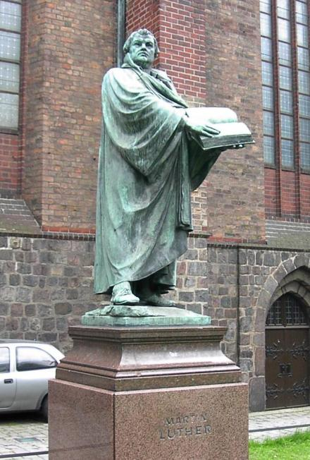 Statue of Luther at St. Mary's Church, Berlin. He was the original Protester and the original Evangelical. (Adam Carr)