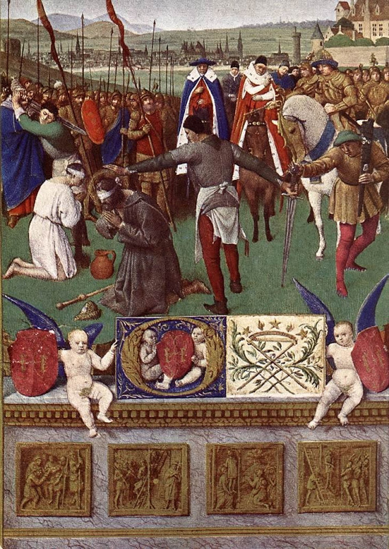"Jean Fouquet, 1452: Martyrdom of St. James. I have seen this attributed as depicting James the Greater (the son of Zebedee), but in fact it combines Scriptural imagery from both Jameses; Herod had the Greater killed with a sword, while James the Brother got pushed off the roof. There has always been confusion about these fellows, because Jesus is never recorded as having said, ""Thou shalt keep meticulous records."""