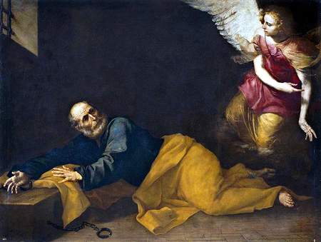 Angel appearing to St. Peter in prison. (artist unknown)