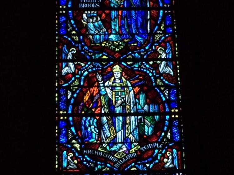William Temple window at Grace Cathedral, San Francisco. His wise, supportive talks and writing during World War II made him admired throughout Anglicanism. (The Rev. Richard Edward Helmer)
