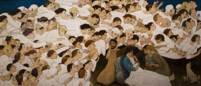 Brian Kershisnik, 2006: Nativity; click to enlarge.