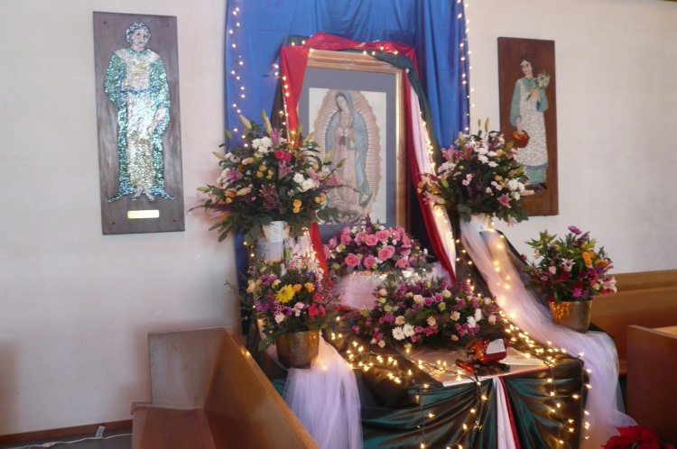 Our Lady of Guadalupe shrine last year at Iglesia Cristo Rey, Watsonville, California. The Virgin is said to have appeared before an Aztec peasant near México City in 1531, resulting in many miracles and the conversion of millions. (The Rev. Michael Dresbach)