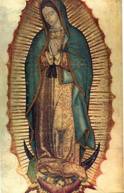 The legend of Guadalupe says that this image was imprinted inside the cloak worn by the man to whom the Virgin first appeared in the 1500s. (Wikipedia)