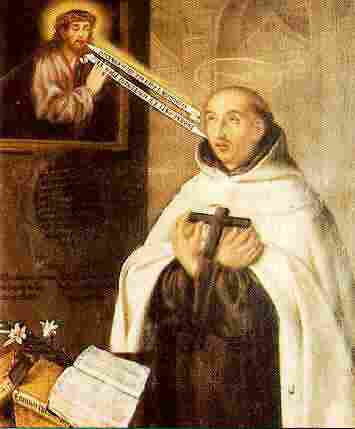 "Juan de la Cruz was a Spanish monk recruited by his friend Teresa of Avila to help reform the Carmelite Order. He devoted himself so fully to the search for God ""that he reached the peak of the mystical experience,"" according to Holy Women, Holy Men; ""a complete transformation in God."" This is a rather bizarre, literalist painting by an unknown artist, with messages shooting like arrows between the Saviour and the saint."