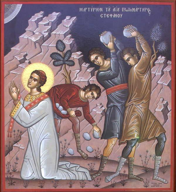 """The stoning of St. Stephen is a shocking thing, but well worth attending to closely, that the day after the joy of Christmas we are confronted with the horrific shock of seeing someone murdered for Christ. But this reality is contained within the Christ Mass itself; the lections and songs are full of the love of God, but the Sacrament begins """"On the night he was handed over to suffering and death."""" Stephen was the first martyr for Christ, a joyful deacon and powerful preacher so near to the heart and mind of Jesus that he had to be killed too. It was the ultimate honor, which is why the Church calls this a major feast day. (iconographer unknown)"""