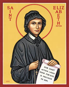 Elizabeth Seton, a devoted Episcopalian, discovered the Roman Catholic Church during a visit to Italy, where she and her husband had gone in hopes of easing his tuberculosis. But he died and she found comfort from the priests there. She returned to the U.S. and in 1809 founded the Sisters of Charity, the first convent in the U.S. (iconographer unknown)