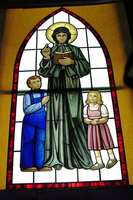 Mother Elizabeth Seton window at St. Joan of Arc Roman Catholic Church, Powell, Ohio. It's nice to see this parish, named for a female saint, honoring other women. (parish photo)