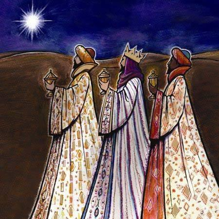 The wise men brought gold, representing wealth, power and royalty; frankincense, representing prayer and worship; and myrrh, representing both the oil of anointing and of embalming. (artist unknown)