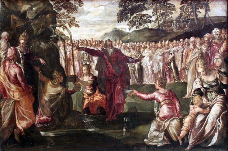 Tintoretto, 1563: Moses Striking the Rock (Wikipedia)