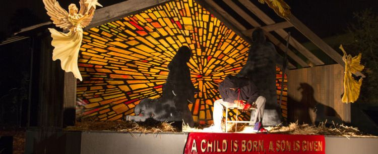 John Zachary: Nativity scene at Claremont United Methodist Church in California, which featured a bleeding Trayvon Martin as Baby Jesus.