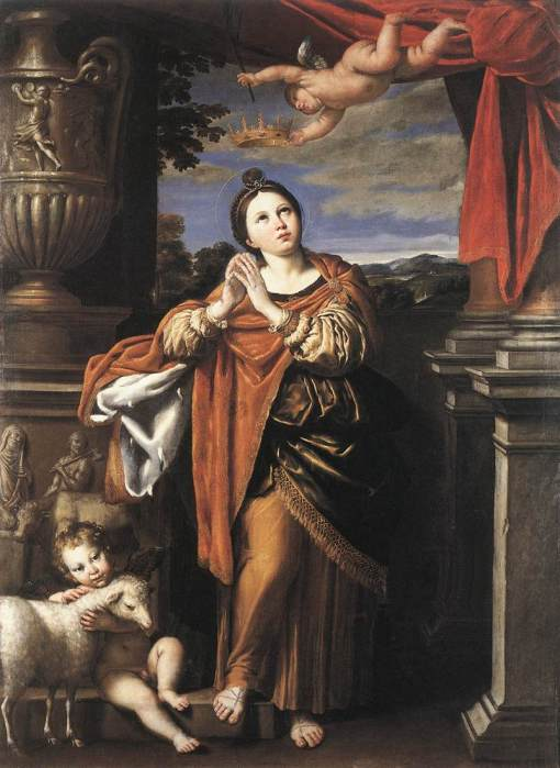 "Domenichino: St. Agnes. She is often depicted with a lamb, since her name means ""pure"" in Greek and ""lamb"" in Latin. (Royal Collection, Windsor Castle)"